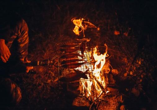 Cooking Fish Porridge Decoration Fire Picnic Wild
