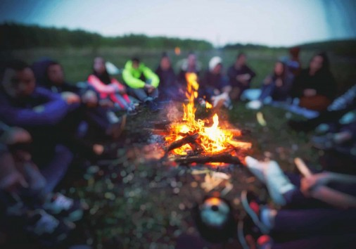 Friends Are Sitting Around The Bonfire