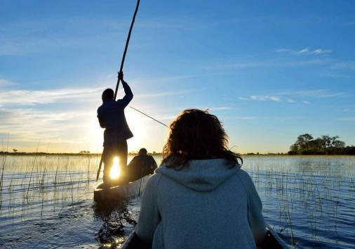 Saling In The Okavango Delta At Sunset, Botswana