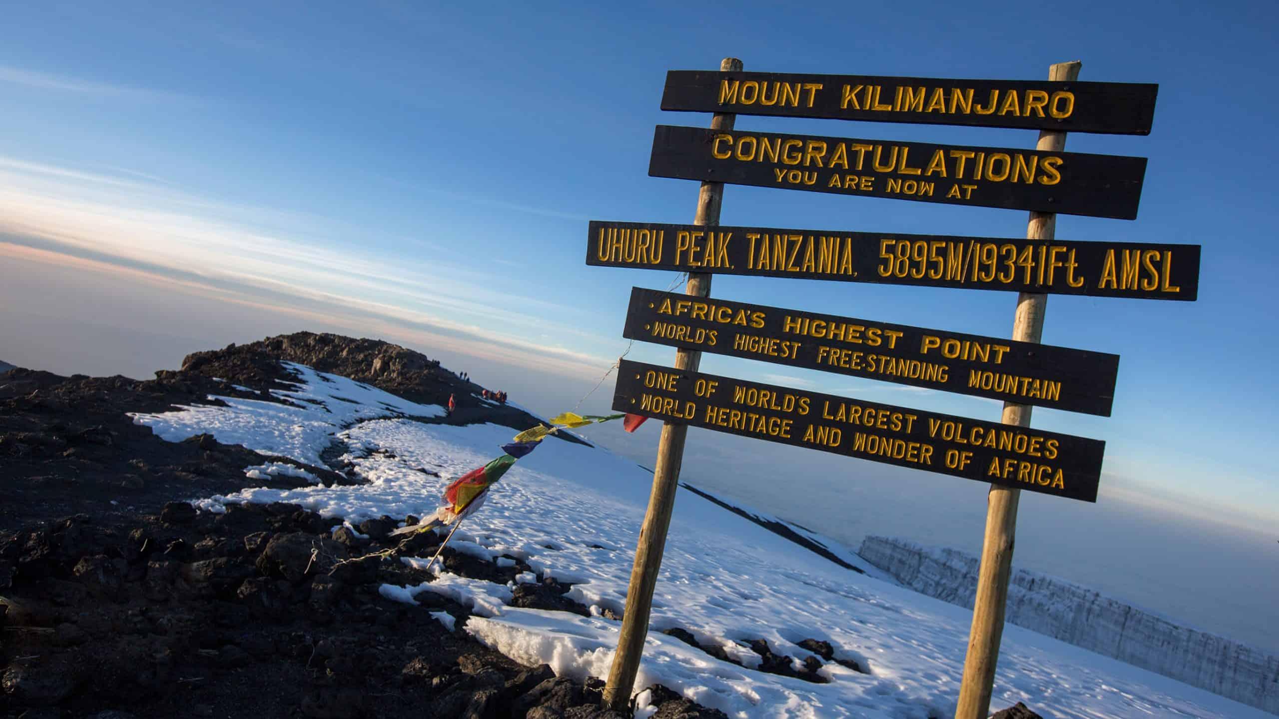 Tanzania Mt Kilimanjaro Summit Sign Sunrise