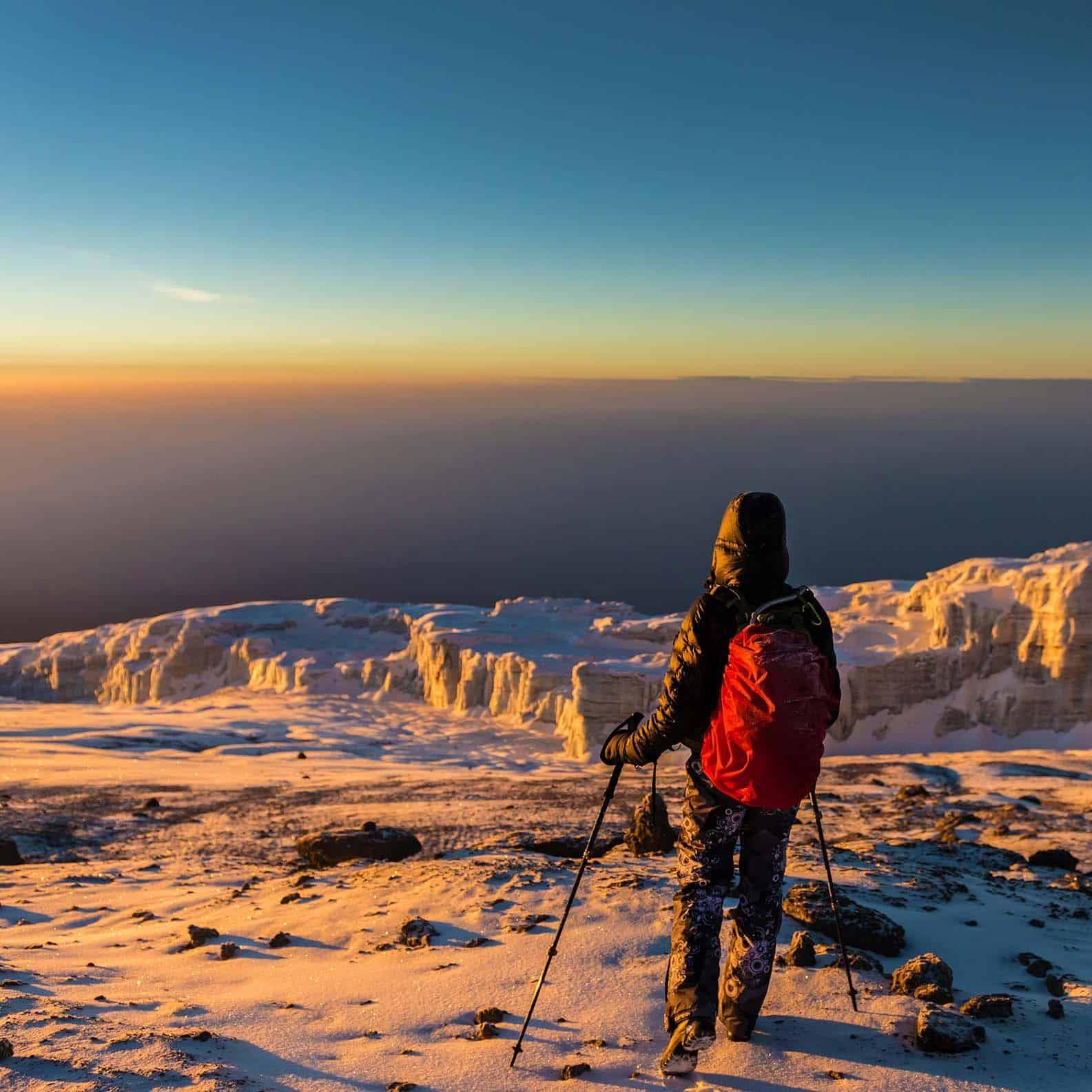 Walking On The Summit Of Mount Kilimanjaro During Winter