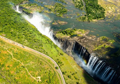 Amazing Air View Of The Victoria Falls, Zambia And Zimbabwe. Un