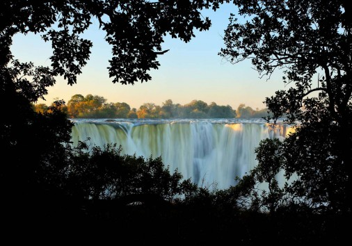 Victoria Falls, Waterfall In Southern Africa On The Zambezi Rive
