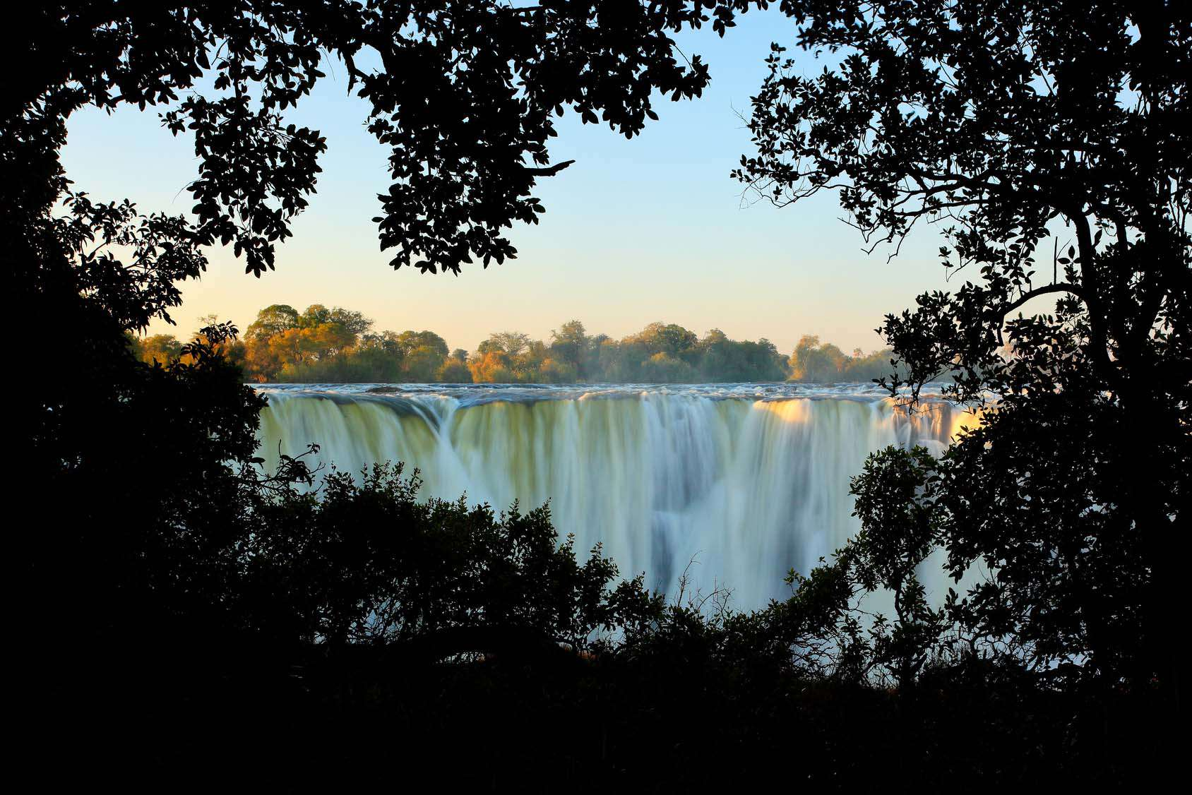 Victoria Falls, Waterfall In Southern Africa On The Zambezi Rive