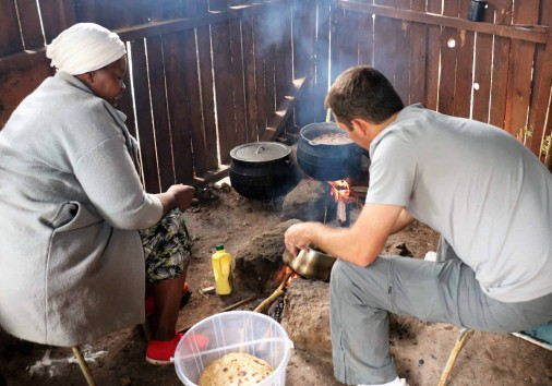 7. Cooking For The Children On A 3 Stone Fire.