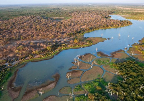 Aerial View Of The Okavango Delta Channels And Landscape