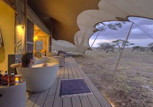 Namiri Plains Tent Deck Bathtub