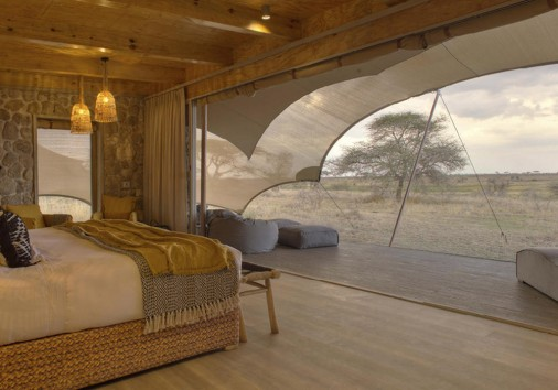 Namiri Plains Tent Interior Looking Out Onto The Plains