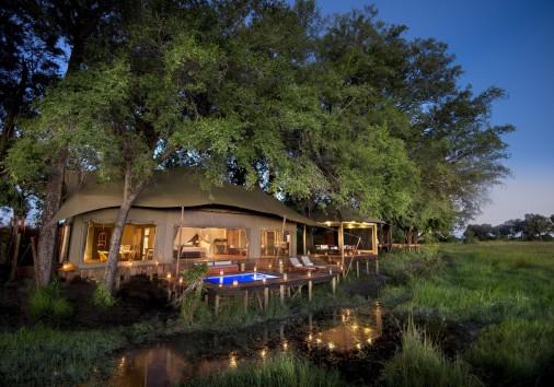 Duba Plains Guest Tent Evening Exterior View